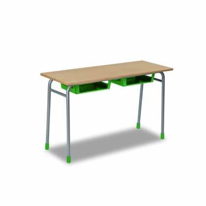 Stolik szkolny dwuosobowy blata z laminatu z obrzeżem z drewna