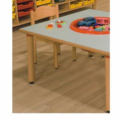 Stolik przedszkolny z laminatu z listwą drewnianą