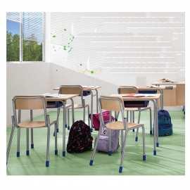 Stolik szkolny blat z laminatu z obrzeżem z drewna
