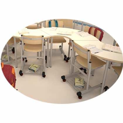 Krzesło szkolne na kółkach z półką