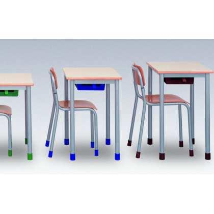 stolik szkolny jednoosobowy blat z laminatu obrzeże z drewna