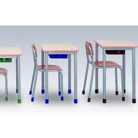 stolik szkolny jednoosobowy blat z laminatu HPL obrzeże z drewna